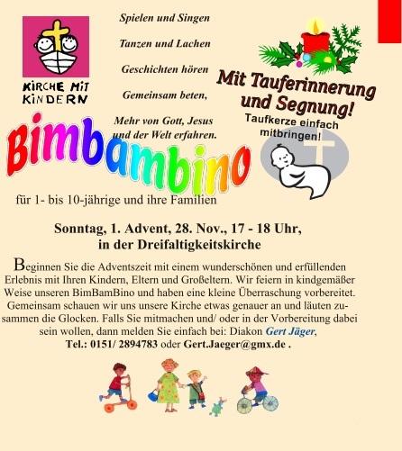 BimBamBino mit Tauferinnerung - 1. Advent, 28.11.2021