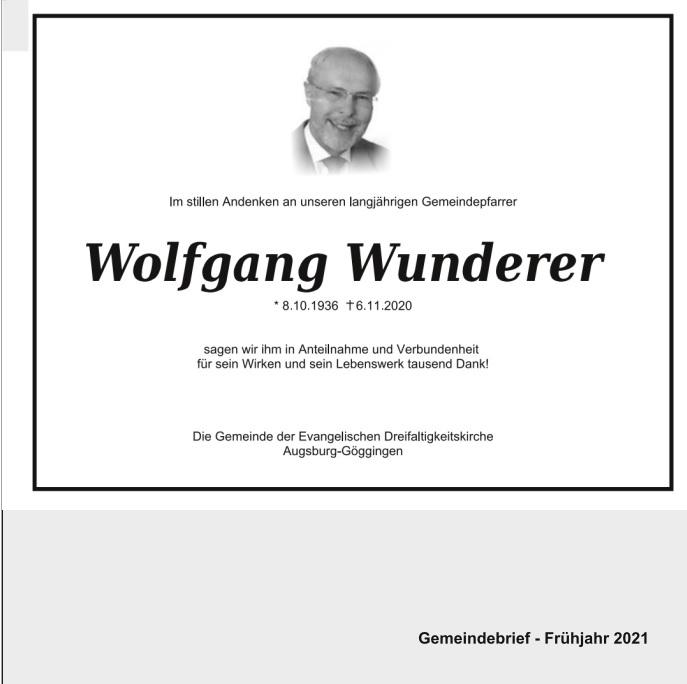 Pfarrer Wolfgang Wunderer